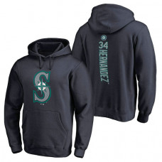 Seattle Mariners #34 Felix Hernandez Backer Pullover Navy Hoodie