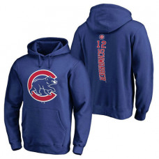 Chicago Cubs #12 Kyle Schwarber Backer Pullover Royal Hoodie