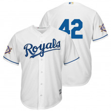 Kansas City Royals White Cool Base Jersey 2018 Jackie Robinson Day