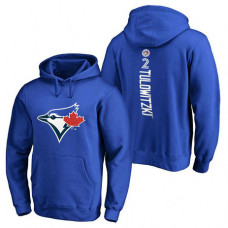 Toronto Blue Jays #2 Troy Tulowitzki Backer Pullover Royal Hoodie