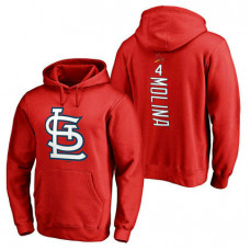 St. Louis Cardinals #4 Yadier Molina Backer Pullover Red Hoodie