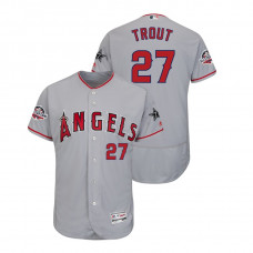 Los Angeles Angels #27 Mike Trout Flex Base Gray Jersey 2018 All-Star Game