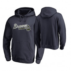 Atlanta Braves Big & Tall Navy Memorial Wordmark Hoodie