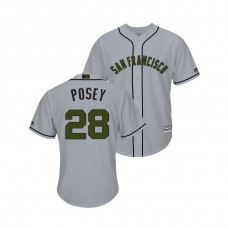 San Francisco Giants #28 Buster Posey Cool Base Jersey 2018 Memorial Day Gray