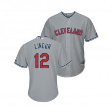 Cleveland Indians #12 Francisco Lindor 2018 Stars & Stripes Cool Base Jersey Gray