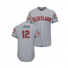 Cleveland Indians #12 Francisco Lindor 2018 Stars & Stripes Flex Base Jersey Gray