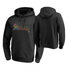 Miami Marlins Big & Tall Black Memorial Wordmark Hoodie