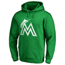 Miami Marlins Kelly Green St. Patrick's Day White Logo Pullover Hoodie