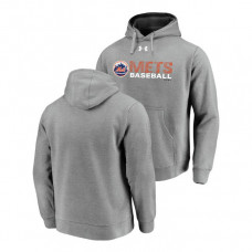 New York Mets Under Armour Heathered Gray Commitment Stack Hoodie