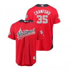 National League #35 Brandon Crawford Home 2018 MLB All-Star Red Run Derby Jersey