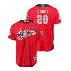National League #28 Buster Posey Home 2018 MLB All-Star Red Run Derby Jersey
