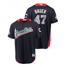 American League #47 Trevor Bauer 2018 MLB All-Star Navy Home Run Derby Jersey