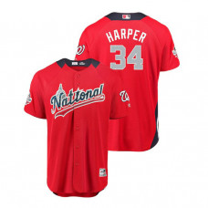 National League #34 Bryce Harper Home 2018 MLB All-Star Red Run Derby Jersey