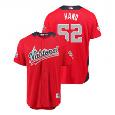 National League #52 Brad Hand Home 2018 MLB All-Star Red Run Derby Jersey