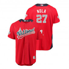 National League #27 Aaron Nola Home 2018 MLB All-Star Red Run Derby Jersey