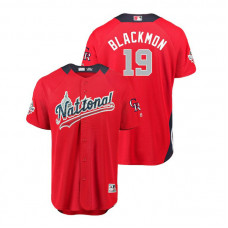 National League #19 Charlie Blackmon Home 2018 MLB All-Star Red Run Derby Jersey