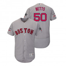 Boston Red Sox #50 Mookie Betts Flex Base Gray Jersey 2018 All-Star Game