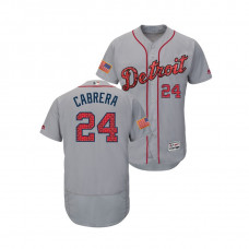 Detroit Tigers #24 Miguel Cabrera 2018 Stars & Stripes Flex Base Jersey Gray