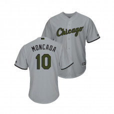 Chicago White Sox #10 Yoan Moncada Cool Base Jersey 2018 Memorial Day Gray