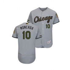 Chicago White Sox #10 Yoan Moncada Flex Base Jersey 2018 Memorial Day Gray