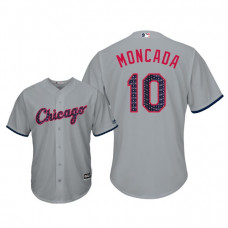 Chicago White Sox #10 Yoan Moncada 2018 Stars & Stripes Cool Base Jersey Gray