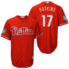 Philadelphia Phillies #17 Rhys Hoskins Scarlet 2018 Spring Training Cool Base Player Jersey