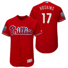 Philadelphia Phillies #17 Rhys Hoskins Scarlet 2018 Spring Training Flex Base Jersey