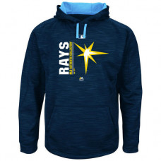 Rays Authentic Collection Team Icon Streak Fleece Navy Pullover Hoodie