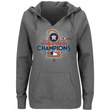 WOMEN - Houston Astros 2017 World Series Champions Locker Room Plus Size Pullover Heather Gray Hoodie
