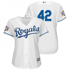 WOMEN - Kansas City Royals White Cool Base Jersey 2018 Jackie Robinson Day