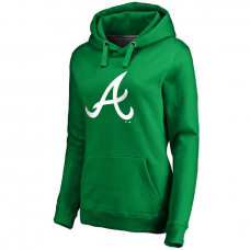 WOMEN - Atlanta Braves Kelly Green St. Patrick's Day White Logo Pullover Hoodie