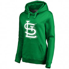 WOMEN - St. Louis Cardinals Kelly Green St. Patrick's Day White Logo Pullover Hoodie