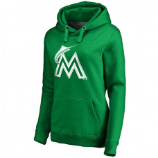 WOMEN - Miami Marlins Kelly Green St. Patrick's Day White Logo Pullover Hoodie
