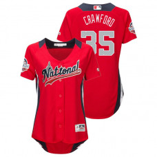 WOMEN - National League #35 Brandon Crawford Home 2018 MLB All-Star Red Run Derby Jersey