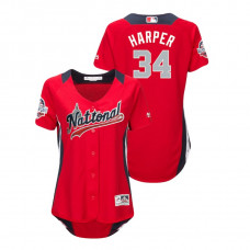 WOMEN - National League #34 Bryce Harper Home 2018 MLB All-Star Red Run Derby Jersey