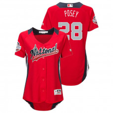 WOMEN - National League #28 Buster Posey Home 2018 MLB All-Star Red Run Derby Jersey