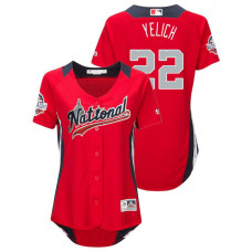 WOMEN - National League #22 Christian Yelich Home 2018 MLB All-Star Red Run Derby Jersey