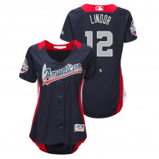 WOMEN - American League #12 Francisco Lindor 2018 MLB All-Star Navy Home Run Derby Jersey