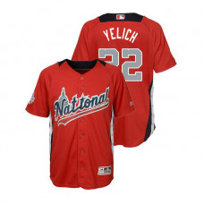 YOUTH - National League #22 Christian Yelich Home 2018 MLB All-Star Red Run Derby Jersey