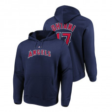 Los Angeles Angels #17 Navy Shohei Ohtani Name & Number Authentic Majestic Hoodie