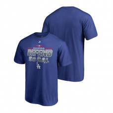 Los Angeles Dodgers Locker Room Defend Royal 2018 NL West Division Champions Majestic T-Shirt