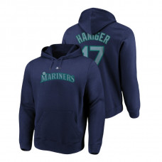 Seattle Mariners #17 Navy Mitch Haniger Name & Number Authentic Majestic Hoodie