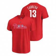 Philadelphia Phillies #13 Red Asdrubal Cabrera Name & Number Majestic Official T-Shirt