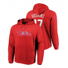 Philadelphia Phillies #17 Red Rhys Hoskins Name & Number Authentic Majestic Hoodie
