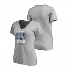 Women - Los Angeles Dodgers Bases Heather Gray Majestic V-Neck T-Shirt