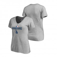 Women - Los Angeles Dodgers Deck Heather Gray Majestic V-Neck T-Shirt