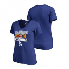 Women - Los Angeles Dodgers Marvel Avengers Assemble Royal V-Neck T-Shirt