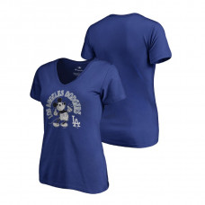 Women - Los Angeles Dodgers V-Neck Royal Disney Mickey's True Original Arch Fanatics Branded T-Shirt