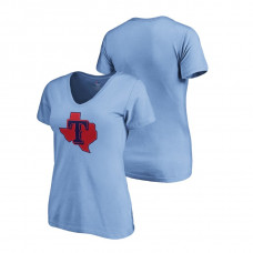 Women - Texas Rangers Light Blue V-Neck T-Shirt