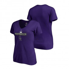 Women - Colorado Rockies Deck Purple Majestic V-Neck T-Shirt